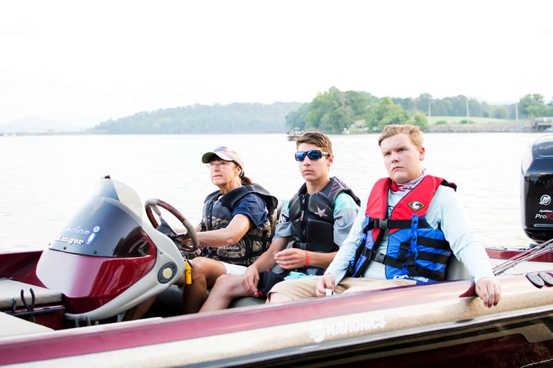 Day 1, boat captain Betty Stahl, Alex Torek of Idaho and Scott Sledge at take off.