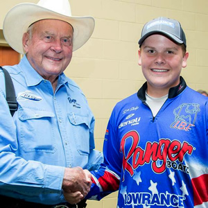 Each of the anglers got VIP treatment and met some fishing legends. Scott with Forrest L. Wood The Founder of Ranger Boats.