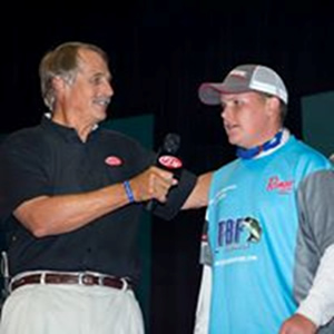 Fishing Legend Hank Parker interviewing Scott at the Forrest Wood Cup weigh in.